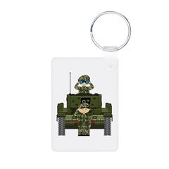 Army Soldiers and Tank Photo Keychain