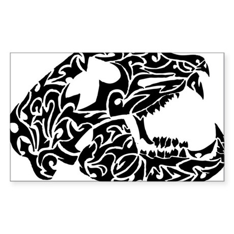 Bear Skull Tribal Tattoo Sticker (Rectangle)