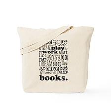 Eat Sleep Books Tote Bag