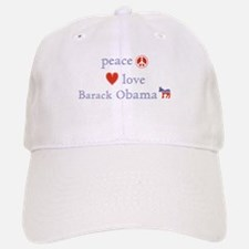 Peace, Love and Obama Baseball Baseball Cap