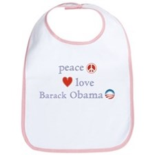 Peace, Love and Obama Bib