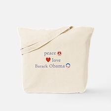 Peace, Love and Obama Tote Bag