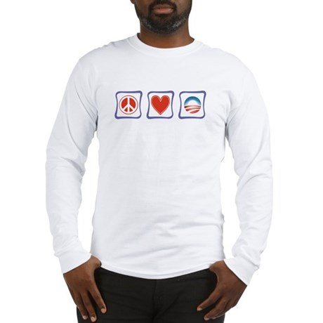 Peace, Love and Obama Long Sleeve T-Shirt