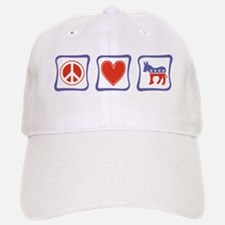 Peace, Love and Democrat Baseball Baseball Cap