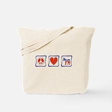 Peace, Love and Democrat Tote Bag