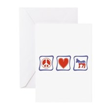 Peace, Love and Democrat Greeting Cards (Pk of 20)