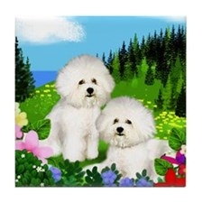 BICHON FRISE DOGS MOUNTAIN MEADOW Tile Coaster