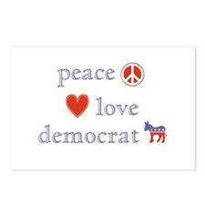 Peace, Love and Democrat Postcards (Package of 8)
