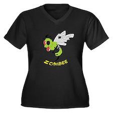 Cute Zombie bee Women's Plus Size V-Neck Dark T-Shirt