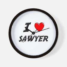 I LOVE SAWYER Wall Clock
