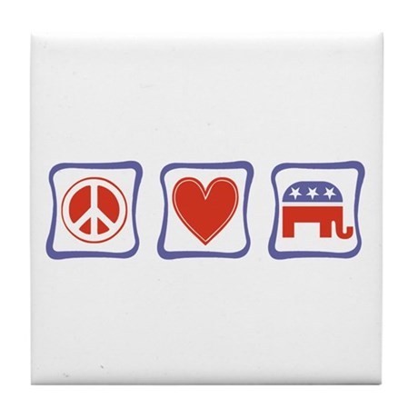 Peace, Love and Republican Tile Coaster