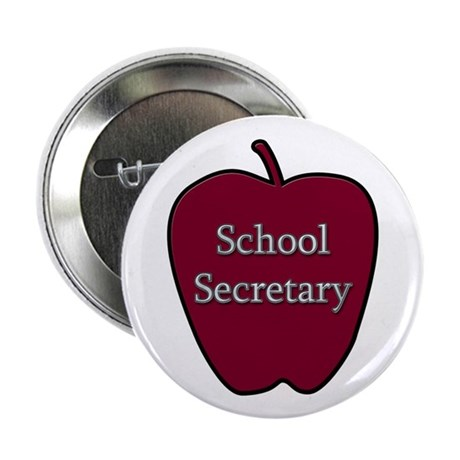 "School Secretary Apple 2.25"" Button (10 pack)"