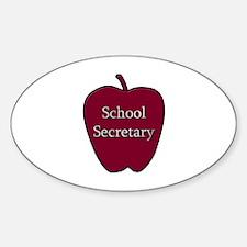 School Secretary Apple Sticker (Oval)