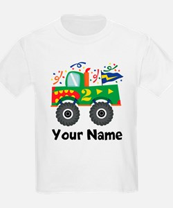 Personalized 2nd Birthday Monster Truck T-Shirt