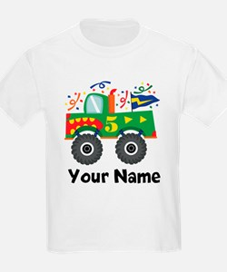 Personalized 5th Birthday Monster Truck T-Shirt