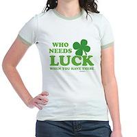 Who Needs Luck Jr. Ringer T-Shirt