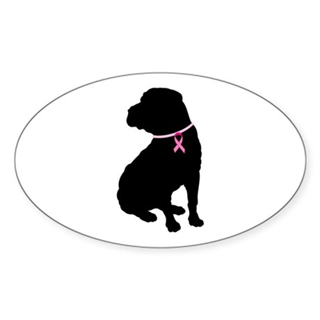 Shar Pei Breast Cancer Support Sticker (Oval)