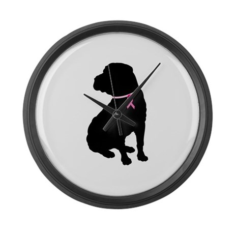 Shar Pei Breast Cancer Support Large Wall Clock