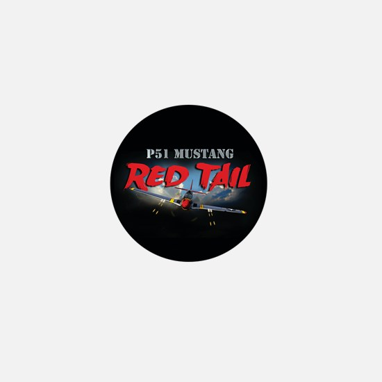 P51 Mustang Red Tail Mini Button