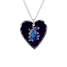 Blue Koi-Pink Flowers Necklace Heart Charm