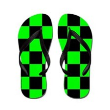 Green and Black Checker Board Flip Flops