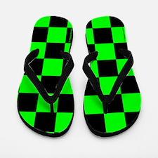 Green and Black Checker Board Flip Flops