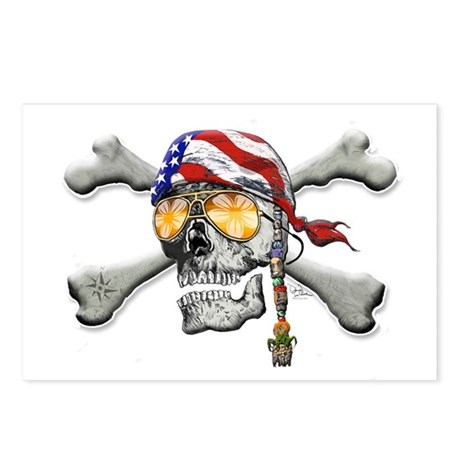 American Pirate Scull and Cross Bones Postcards (P