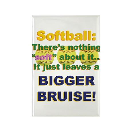 Softball = Not Soft Rectangle Magnet (10 pack)