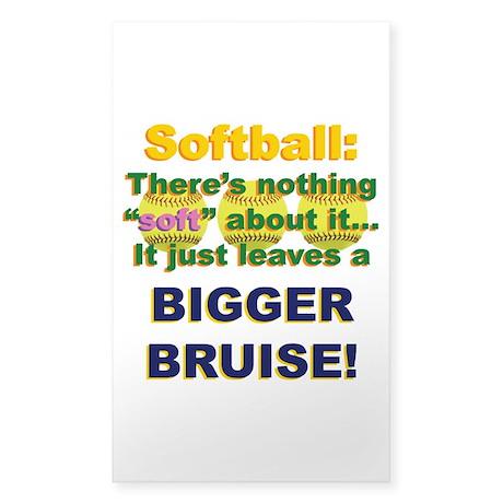 Softball = Not Soft Sticker (Rectangle)