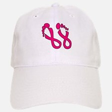Pink Ribbon Feet Baseball Baseball Cap