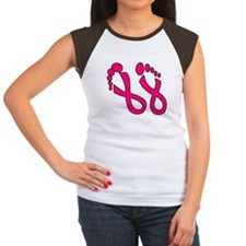 Pink Ribbon Feet Women's Cap Sleeve T-Shirt