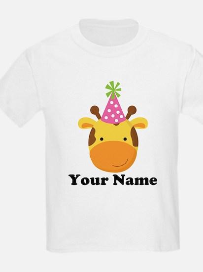 Personalized Birthday Giraffe T-Shirt