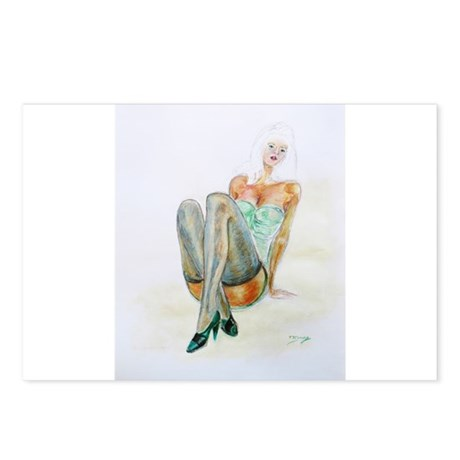 Blue Stockings pinup girl Postcards (Package of 8)