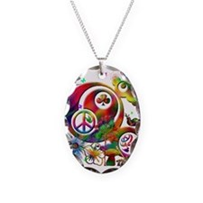 Lucky Peace Sign Collage Necklace
