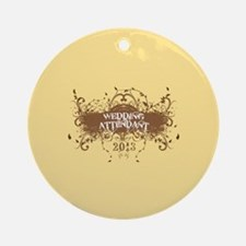 2013 Grunge Wedding Attendant Ornament (Round)