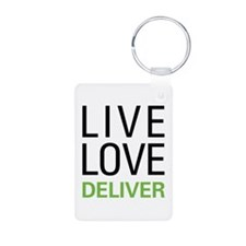 Live Love Deliver Aluminum Photo Keychain