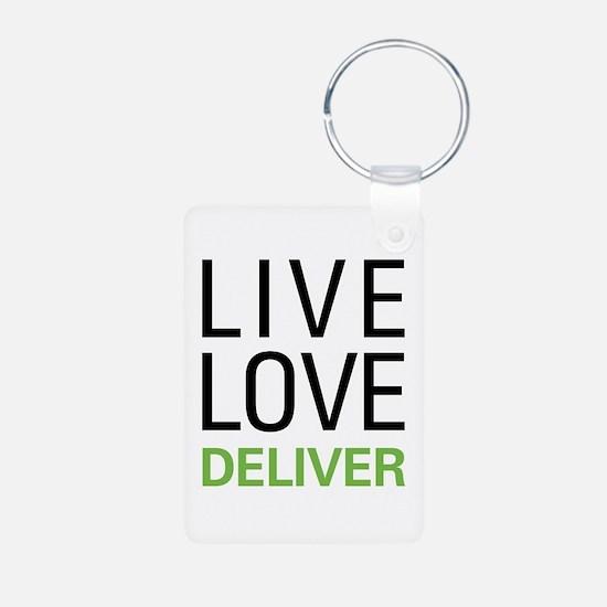 Live Love Deliver Aluminum Photo Keychain