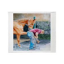 Horse Pedicure Throw Blanket