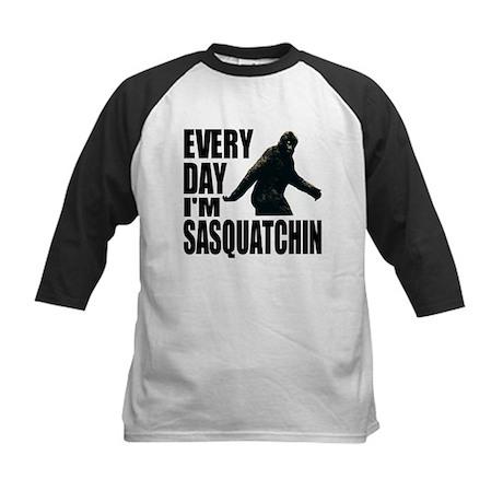 Every Day I'm Sasquatchin Kids Baseball Jersey