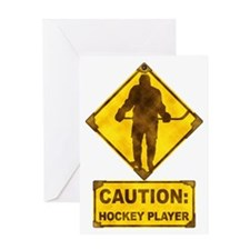 Hockey Player Caution Sign Greeting Card