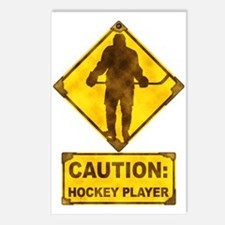 Hockey Player Caution Sign Postcards (Package of 8