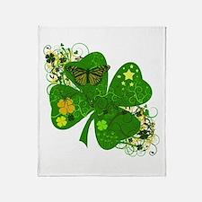 Fancy Irish 4 leaf Clover Throw Blanket