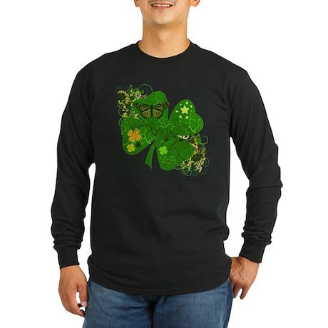 Fancy Irish 4 leaf Clover Long Sleeve Dark T-Shirt