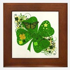 Fancy Irish 4 leaf Clover Framed Tile