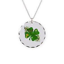 Fancy Irish 4 leaf Clover Necklace Circle Charm