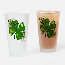Fancy Irish 4 leaf Clover Drinking Glass