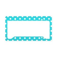 Teal Blue and White Polka Dot License Plate Holder
