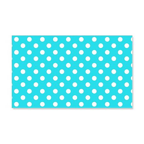 Teal Blue and White Polka Dot 22x14 Wall Peel