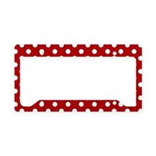 Red and White Polka Dot License Plate Holder