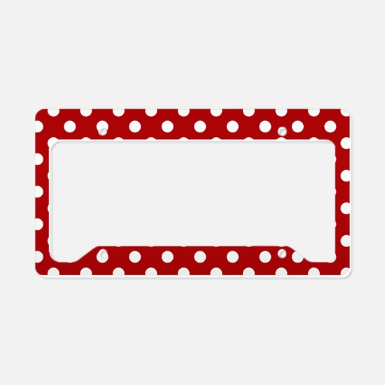 Red and White Polka Dot License Plate Holder